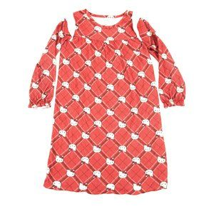 Hello Kitty Sleep Gown Long Sleeves Pullover Red L